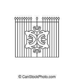 Metal Grid With Emblem Fencing Design
