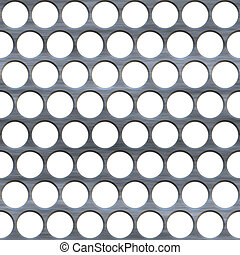 A brushed metal grille or grate with circular holes isolated over white.