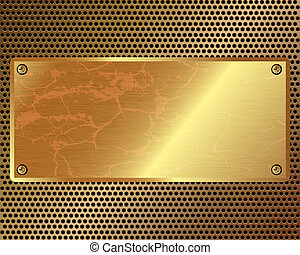 Metal grille with a gold plate in the center