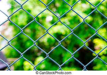 metal grille with nature background