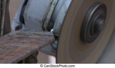 metal grinding - close-up of metal grinding work