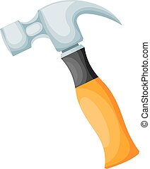Metal hammer with a yellow plastic handle on a white background. Isolate. Cartoon drawing. Vector illustration