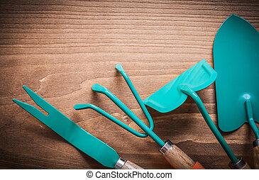 Metal hand hoe dandelion trowel spade and rake agriculture conce