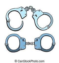 Metal handcuffs illustration