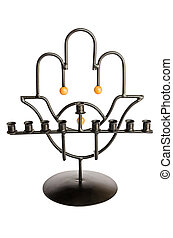 Metal Hanukkah Menorah with Hamsa isolated on white background