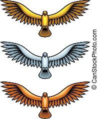 Metal Hawks - Golden, silver and bronze hawk figures, set of...
