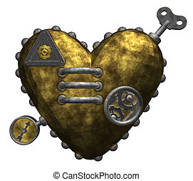 metal heart on white background - 3d illustration