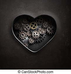 metal heart with gears and cogs 3d illustration