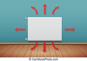 Metal Heating radiator in room
