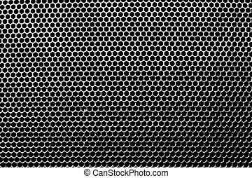 Metal holed grid background yellow hole. Vector illustration.