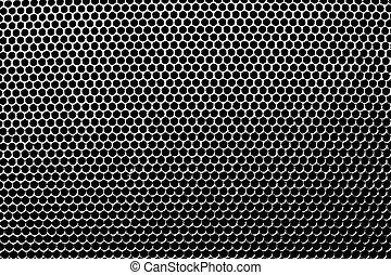 Metal holed grid background yellow hole. Vector illustration.