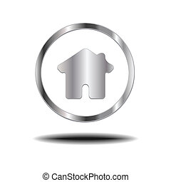 Metal Home Icon.