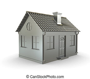 Metal house on a white background