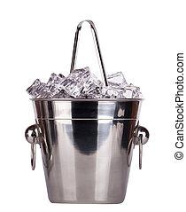 Metal ice bucket isolated on white