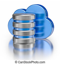 Metal icon database icon and blue glossy cloud