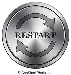metal., icon., imitar, redondo, reiniciar, icono