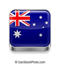 Metal icon of Australia - Metal square icon with Australian...