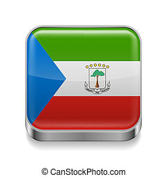 Metal icon of Equatorial Guinea - Metal square icon with...