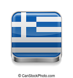 Metal icon of Greece - Metal square icon with Greek flag...
