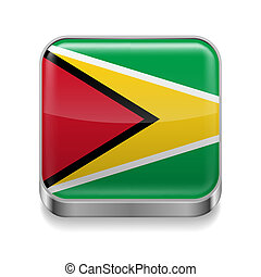 Metal icon of Guyana - Metal square icon with Guyanese flag...