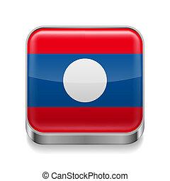 Metal icon of Laos - Metal square icon with Laotian flag...