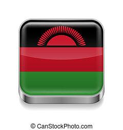 Metal icon of Malawi - Metal square icon with Malawian flag...