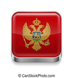 Metal icon of Montenegro - Metal square icon with...