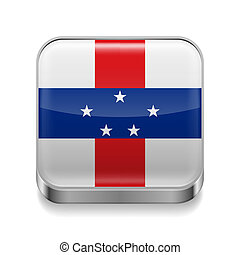 Metal icon of Netherlands Antilles - Metal square icon with ...