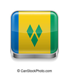 Metal icon of Saint Vincent and the Grenadines - Metal...
