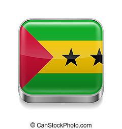 Metal icon of Sao Tome and Principe - Metal square icon with...