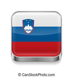 Metal icon of Slovenia - Metal square icon with Slovenian ...