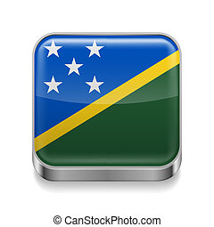 Metal icon of Solomon Islands - Metal square icon with flag...
