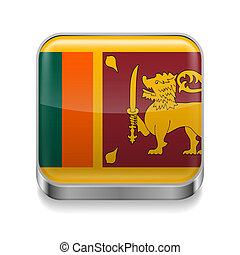 Metal icon of Sri Lanka - Metal square icon with flag colors...