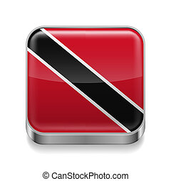 Metal icon of Trinidad and Tobago - Metal square icon with...