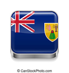 Metal icon of Turks and Caicos Islands - Metal square icon...