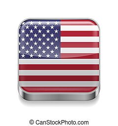 Metal icon of USA - Metal square icon with American flag...