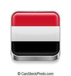Metal icon of Yemen - Metal square icon with Yemeni flag ...