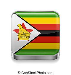 Metal icon of Zimbabwe - Metal square icon with Zimbabwean ...