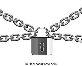 metal, ilustración, cadena, vector, candado