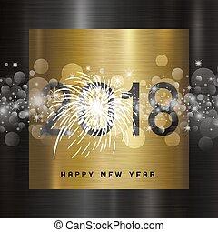 metal, ilustración, vector, diseño, 2018, plano de fondo, año, nuevo, feliz