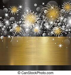 metal, ilustración, vector, diseño, plano de fondo, año, nuevo, feliz
