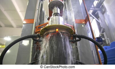 Metal induction hardening machine. Process of quenching ...