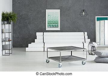 Metal industrial table with wheels