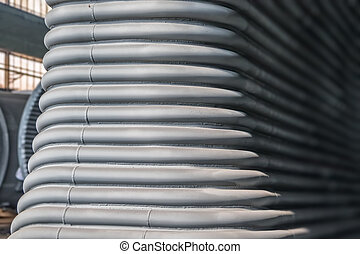 Metal industry background - Metal tunnel made of rounded...