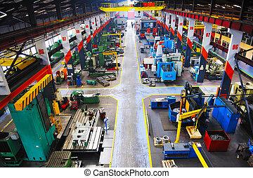metal, industy, fábrica, interior