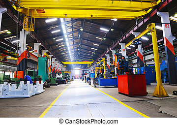 industry factory iron works steel and machine parts modern indoor hall for assambly