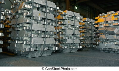 Metal Ingots in Warehouses. Industrial