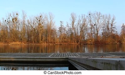 Metal jetty in lake or river