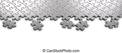Metal Jigsaw Puzzle - 3D rendered Metal jigsaw puzzle...