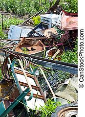 Metal junk in yard